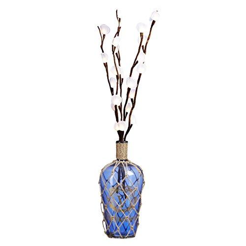Relaxdays Maritime Deco Bottle, Floor Vase 50 Cm And Large Glass Jug With Fishing Net Design, Jute Cord, Vintage Print, Size: 50 X 23 X 23 Cm, 15 L, Blue