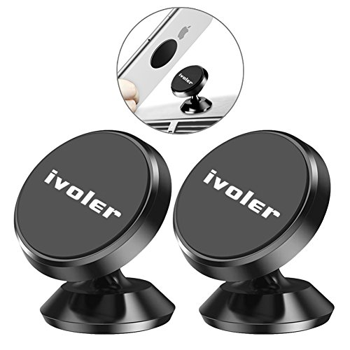 iVoler [2-Unidades] Soporte Magnético Móvil Coche Universal Aluminio con 4 Pegatinas Metalicas, Mini Iman Móvil Coche/Soporte Auto Car Mount Metálico 360° Rotación para Móviles Dispositivo GPS -Negro