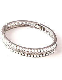 IGP Flawless CZ Stone And Pearl Studded Bangle Bracelet For Women And Girls