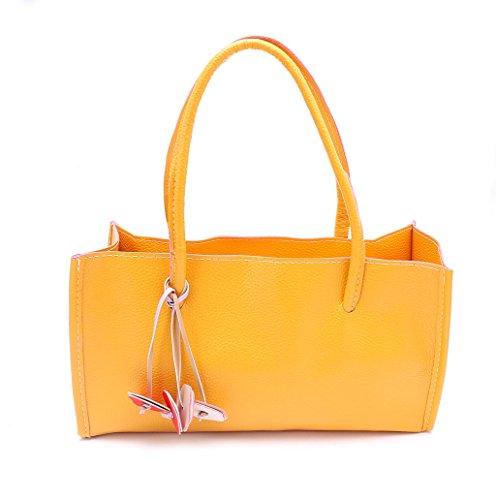 Dairyshop Donne Tote Donna Borsa a tracolla Messaggero di Satchel Borsa della borsa della spesa (rosa) giallo