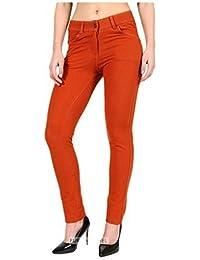 FASHIONCHIC Femmes uni élastique Coupe Slim Skinny Curvy habillé coloré  Fermeture éclair Pantalon Jeggings Grande Taille bf91d099b5c