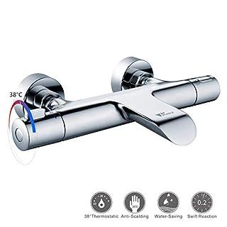 Amzdeal Wannenarmatur Thermostat, Wannenthermostat Badewannenarmatur, Mischbatterie Dusche Thermostat 20-50℃ mit Wasserfall Belüfter/Dolphin-02