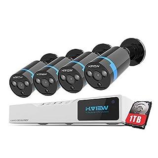 H.VIEW 1080P Überwachungskamera System 4 x 1080P Wetterfest HD-Kamera Außen und 4CH DVR mit 1TB Festplatte 1080P Überwachungskamera Set Bewegungsmelder IR Nachtsicht