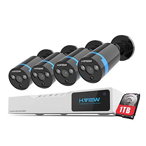 H.VIEW 1080P Überwachungskamera System 4 x 1080P Wetterfest HD-Kamera Außen und 4CH DVR mit 1TB Festplatte 1080P Überwachungskamera Set Bewegungsmelder IR Nachtsicht Dvr-kamera-system
