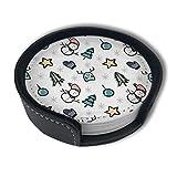 OUYouDeFangA Untersetzer mit Weihnachtsmotiv mit Wintermotiv und Halterung, runde Tassen und Untersetzer, geeignet für Zuhause und Küche (6 Stück)