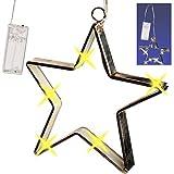 Unbekannt 2 Stück _ LICHT Dekosterne - je 15 Stück LED - 17 cm - Sterne Batterie betrieben - Lichtersterne mit Beleuchtung - mit Haken zum Aufhängen - Weihnachten - Wei..
