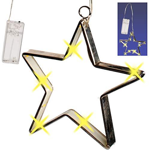 alles-meine.de GmbH 2 Stück _ LICHT Dekosterne - je 15 Stück LED - 17 cm - Sterne Batterie betrieben - Lichtersterne mit Beleuchtung - mit Haken zum Aufhängen - Weihnachten - Wei.. - Spielzeug Betrieben Batterie