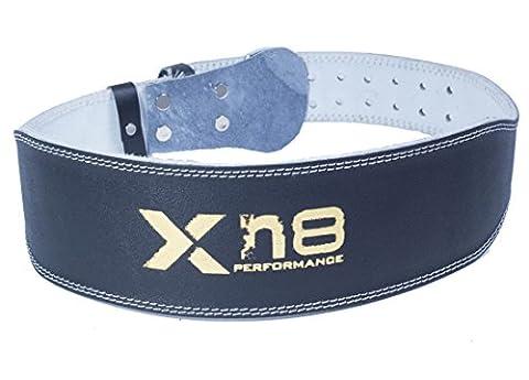 xn8Poids en cuir ceinture de levage 10,2cm boxe Sport Support arrière Sangle (Noir avec relief doré) Black Golden Extra Large: 47inch