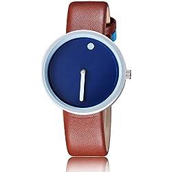 OUMOSI Women Dot Hour Quartz Watch Leather Strap Casual Wristwatch