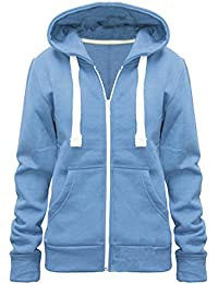 b40e1f78c Home ware outlet Ladies Womens Plain Colour Hoodie Zip Sweater Hood Plus  Size (UK 8
