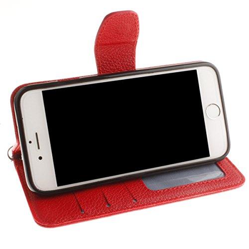 iPhone 6S Plus Coque, iPhone 6 Plus Coque, Lifeturt [ Orange ] [book-style] Flip Case Coque en PU Cuir Housse de Protection Étui à rabat Case Cover Ultra Slim Portefeuille PU Cuir avec stand de Carte  E02-Rouge1641
