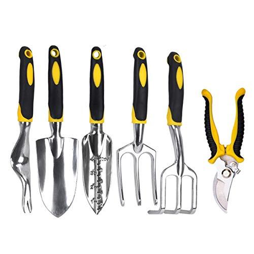 Haokaini 6-teiliges Gartenwerkzeugset, Gartenwerkzeugset, Hochleistungs-Aluminiumgussköpfe, ergonomische Griffe
