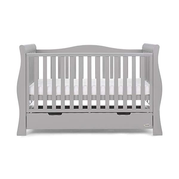 Obaby Stamford Luxe Sleigh Cot Bed, Warm Grey Obaby Adjustable 3 position mattress height Sides remove to transform into toddler bed Includes matching under drawer for storage 11