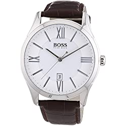 Hugo Boss Ambassador Round Quartz Watch For Men With Leather Strap, White