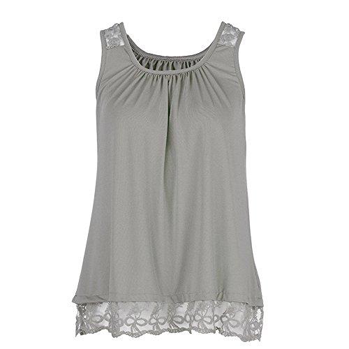 Damen O-Neck ärmellos Reine Farbe Spitze Plus Size Weste Oberteile Lose T-Shirt Bluse