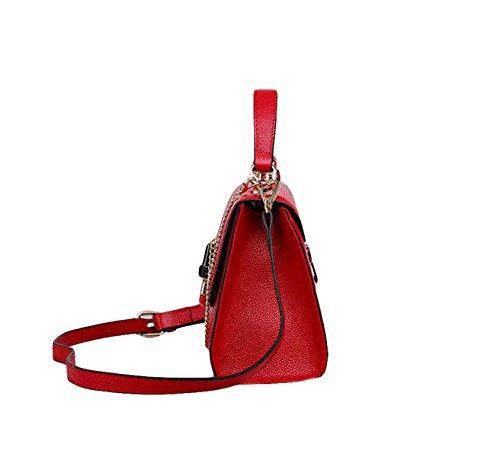 Leder Handtaschen Handtaschen Umhängetasche Messenger Bag Leder Mode Lässig Wild Black
