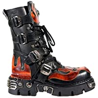 New Rock Newrock 107-S1 Red Skull Devil Black Leather Boot Biker Goth Rock Boots