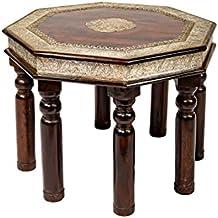 Marokkanischer Wohnzimmertisch Couchtisch Aus Holz Massiv Azmi 60cm Silber  | Vintage Tisch Aus Massivholz Mit Messing
