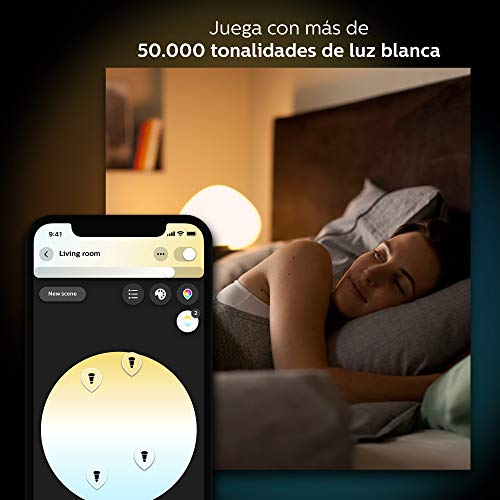 Philips Hue White and Color Ambiance - Kit de 3 bombillas LED E27 con puente y mando, 9.5 W, iluminación inteligente, cambian de color, compatible con Amazon Alexa, Apple HomeKit y Google Assistant