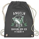 Angeln - Angeln und Bier - Unisize - Dunkelgrau - WM110 - Turnbeutel & Gym Bag