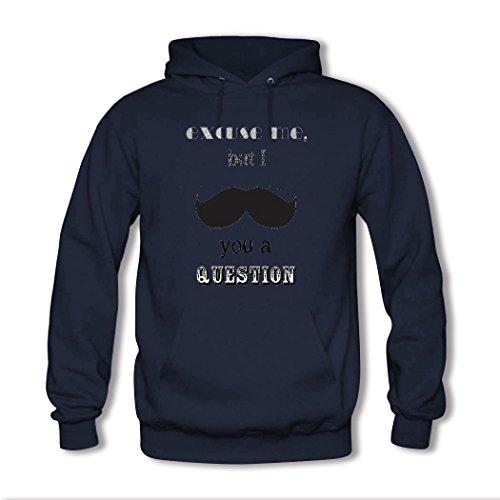 HGLee Printed Personalized Custom mustache Women's Hoodie Hooded Sweatshirt Navy