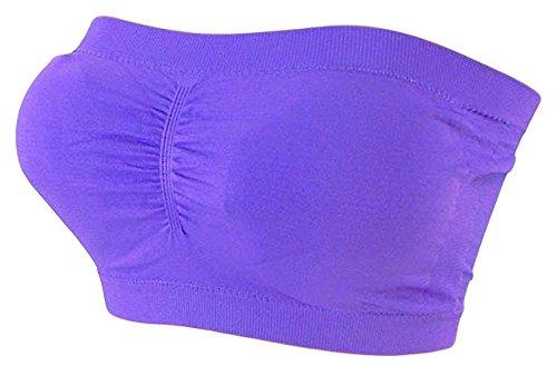 Damen Bandeau Bra trägerlos Unterhemd TOP GoGo Sport Bh Push Up Uni Größe bnu (lila)