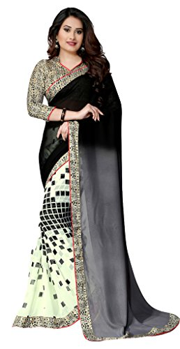 Glory Sarees Georgette Saree (Vnart16_Gery Black And Pista White)