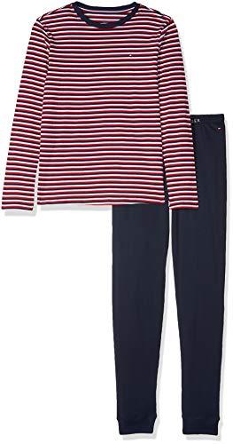Tommy Hilfiger Jungen LS Set Stripe Zweiteiliger Schlafanzug, Weiß (White/Navy Blazer 103), 152 (Herstellergröße: 10-12) (Boy Tommy Hilfiger Set)