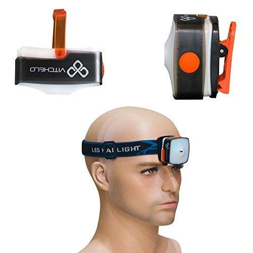 Aufladbare USB CREE LED Stirnlampe mit super hellem Blinklicht für nächtliches laufen, zelten, wandern, fischen, jagen - helle und leichte Stirnlampe - auch als Mini Hängelampe zu gebrauchen + rotes Licht