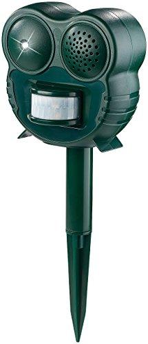 Royal Gardineer Katzenabwehr: Ultraschall-Tierschreck mit LED-Leuchte und PIR-Bewegungsmelder, 70 m² (Vogelschreck) -
