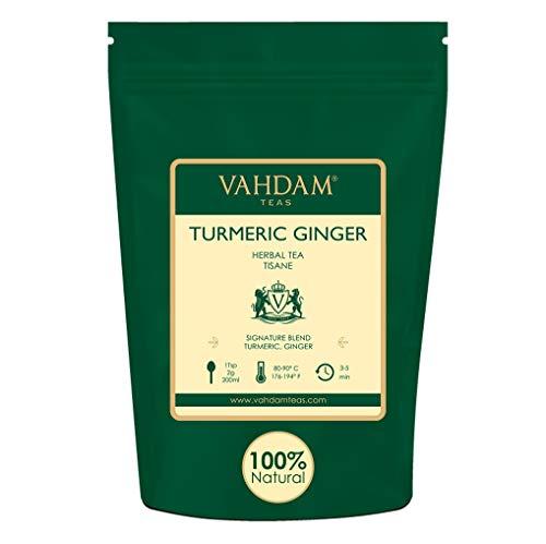 VAHDAM, Kurkuma-Ingwer-Kräutertee Loose Leaf   Set mit 2 Stück à 100 g (100 Tassen)   Indiens Wundergewürz   Kurkuma-Tee & Ingwer-Tee   100% natürlicher Tisane Tee   Brauen Sie als heißer oder Eistee