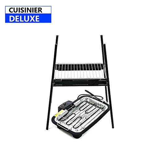 Cuisinier Deluxe Stand-Elektrogrill, mit abnehmbaren Standfüßen und regulierbarem Thermostat (2000W)–zum Grillen im Haus, auf dem Balkon oder im Garten, auch als Tischgrill geeignet (02822)