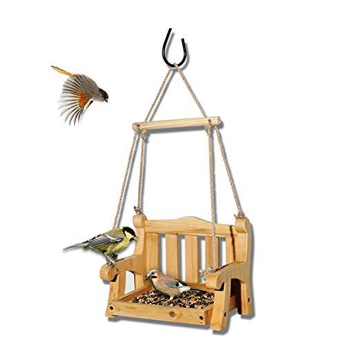 DOOKK Vogelhäuschen Stuhl Vogelhäuschen für draußen Outdoor Holz Vogelhäuschen Schaukel Stuhl Wild Bird Feeder Veranda Dekorative 23.5X16X48 -