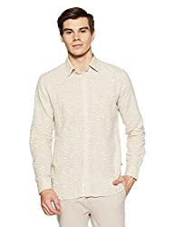 Parx Mens Printed Slim Fit Casual Shirt (XMSS07879-F2_42_Light Fawn)