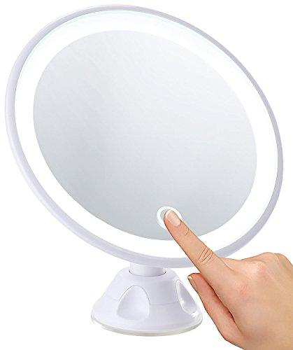 Sichler Beauty Schminkspiegel: Saugnapf-Kosmetikspiegel mit LED-Licht und Akku, 5-fache Vergrößerung (Rasierspiegel)