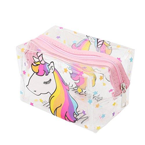 nicebuty transparente unicornio neceser de maquillaje compartimento bolsa Cosmética-Estuche para bolígrafo Beaute COSMETIQUES maquillaje bolsa de viaje (negro) (rosa)