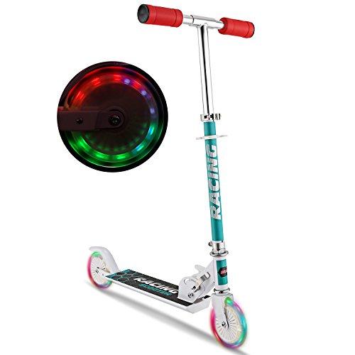 WeSkate Scooter Kinder Roller Tretroller Cityroller Kick Scooter klappbar mit LED Big Wheel Kugellager ABEC 7 für Mädchen Kinder ab 3 Jahre (B3/weiß)
