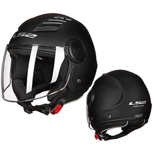 GXQ Casco per Motociclisti Casco per Motociclisti Mezzo Casco - Dull Black 100% DOT Approved (1 Top Helmet) (Color : A, Size : XXXXL)