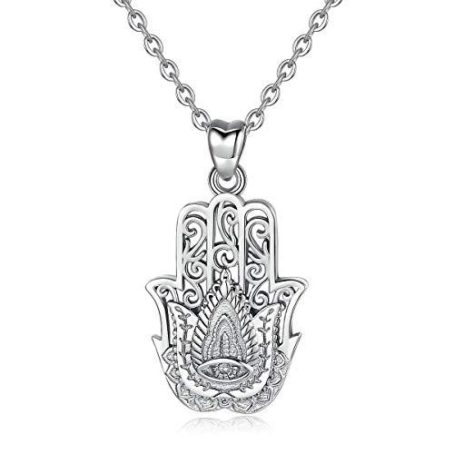 Collar de plata para mujer, plata de ley 925, colgante de mano de Fátima de buena suerte, cadena de 45,72 cm AEONSLOVE joyas regalos para mujer esposa niña
