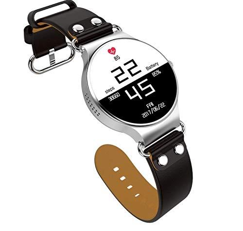 mishuai Mishuai Intelligente Uhr-Android-Runde Bildschirmkarte GPS, die Uhr WiFi-Wetteruhr positioniert (Color : Silver Black)