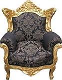Casa Padrino Barock Wohnzimmer Set Schwarz Muster/ Gold – 3er Sofa+2er Sofa + 1 Sessel - 2
