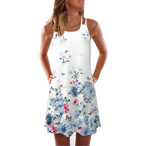 JUTOO Frauen Lose Sommer Vintage Ärmelloses 3D Kurzes Minikleid(E-Weiß,EU:40/CN:L) (Indianer Kostüm Verleih)