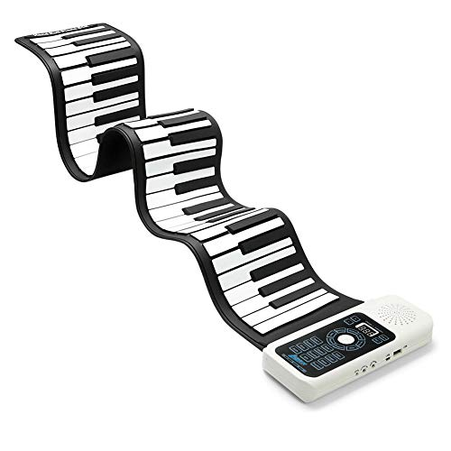 Lujex Keyboard Klavier Faltbare 61 Tasten, Keyboard Klavier Kinder Lernen 61 Tasten Flexible Soft Electronic Digital Midi Roll up Keyboard Piano (61 Tasten)