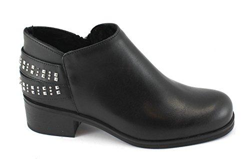 Frau 94T5 Chaussures Noires Femme Bottines en Cuir Zip