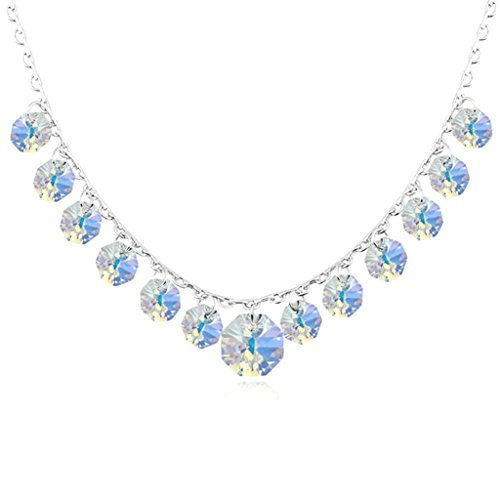 Daesar Schmuck Damenkette Vergoldet Runde Halo Synthetische Kristall Halskette Zirkonia Halskette Anhänger