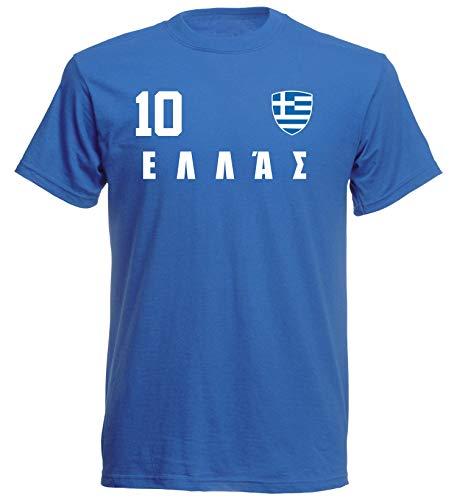 aprom - Griechenland Kinder T-Shirt Trikot ALL-10 Blau - WM 2018 Fußball (152) - Griechenland T-shirts Kinder