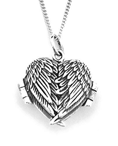 925SilverGiftShop - Colgante que se abre con forma de corazón y diseño de alas de ángel con cadena de plata de ley 925 de 45,7 cm