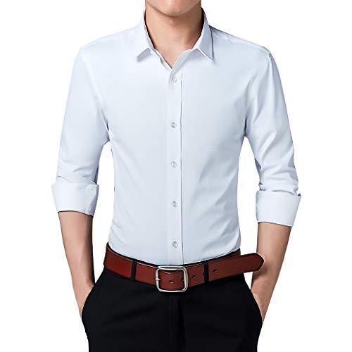 Splrit-MAN Herren Slim Fit Business Hemd Shirt für Freizeit Business Hochzeit Reine Farbe Hemd Langarm Herren-Hemd (Blauer Spartaner Kostüm)