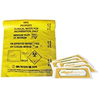 NHS Printed Yellow Clinical Waste Bag with Oqard Hand & Surface Cleansing Wipes (1 roll, 5 wipes)