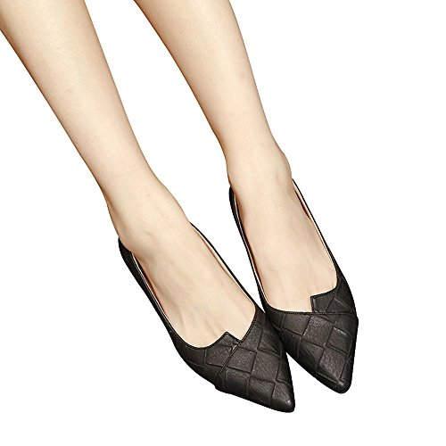 Jamron Damen High End Customizd Westlicher Stil Plaid PU Leder Spitze Ballerinas Nobel Elegant Flach Kleid Pumps Schwarz